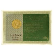 *Investment Rarities 1854 $3 U.S. MS-63 Gold Piece Coin (DF)