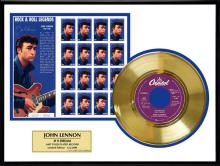JOHN LENNON ''#9 Dream'' Gold Record /w Stamp-Limited Edition