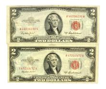 Rare (2) 1953 $2 U.S. Red Seal Notes