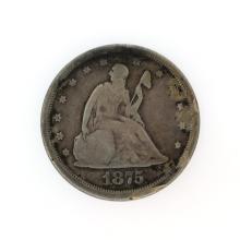 Rare 1875-S Liberty Seated Twenty-Cent Piece Coin