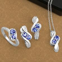 APP: 2.2k Fine Jewelry 2.00CT Round Cut Tanzanite And White Topaz Sterling Silver Ring, Pendant w/ Chain & Earrings Set