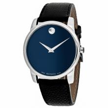 *Movado Men's Museum Stainless Steel, Leather Strap, Blue Dial, Quartz Movement, Water Resistant Up To 3 ATM  (DM 607013)