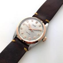 *ROLEX Oyster Precision, Automatic Movement, Year 1968, Acrylic Glass, Rose Gold Bezel, Italian Leather Band Watch