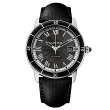 *Cartier Men's Ronde Croiseire Stainless Steel Case, Leather Strap, Grey Dial, Automatic Movement, Water Resistant up to 10 ATM (DM WSRN0003)