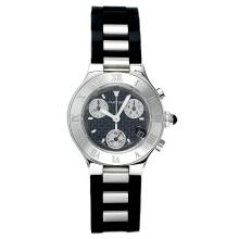 *Cartier Men's Must 21 Stainless Steel Case, Rubber Strap With Stainless Steel Links, Black Dial, Swiss Quartz Movement, Water Resistant Up To 10 ATM (DM W10125U2)