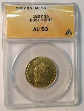 *1807 $5 Bust Right US Gold ANACS AU53 Coin (JG)