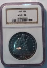 *1842 Seated $1 NGC MS61 PL  Only Certified PL Pop Coin (JG)