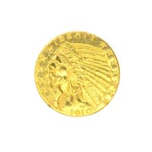 *1910 $5 U.S. Indian Head Gold Coin (DF)