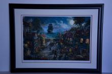 Rare Thomas Kinkade Original Limited Edition Numbered Lithograph Plate Signed Museum Framed ''Pirates of the Caribbean''