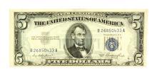Rare 1953 $5 Blue Seal Silver Certificate