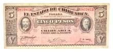 1915 Mexico Revolutionary Chihuahua 5 Pesos Note
