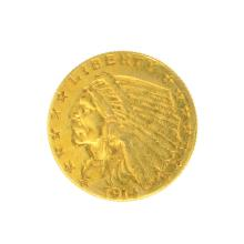 *1914-D $2.50 U.S. Indian Head Gold Coin - Great Investment - (JG PS)