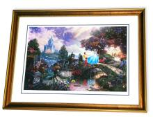 Rare Thomas Kinkade Original Limited Edition Numbered Lithograph Plate Signed Museum Framed ''Cinderella Wishes Upon a Dream''