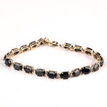 *Fine Jewelry 14 kt. Gold, New Custom Made, Blue Sapphire, One Of a Kind Bracelet (FJ. 240)