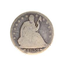 1853-O Liberty Seated Arrows At Date, Rays Around Eagle Half Dollar Coin