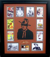 John Wayne Engraved Signature with Authentic Swatch of Original Clothing