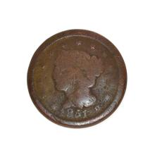 Rare 1851 Large Cent Coin