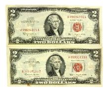Rare (2) 1963 $2 U.S. Red Seal Notes