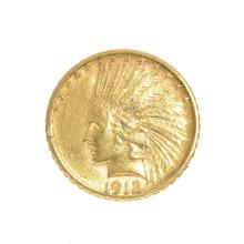 *1912-S $10 U.S. Indian Head Gold Coin (DF)