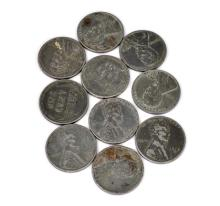 (10) 1943 Lincoln War Zinc One Cent Coins
