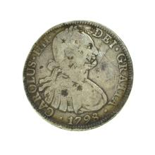 1798 Extremely Rare Eight Reales American First Silver Dollar Coin