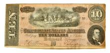 Nice 1864 $10 Confederate Note
