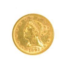 *1893 $5 U.S. Liberty Head Gold Coin (DF)