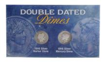 1916 U.S. Double Dated Barber And Mercury Dimes Coin Set