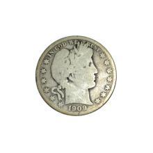 Rare 1909 Barber Half Dollar Coin