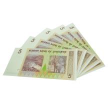 (5) $5 Zimbabwe Elephant Note