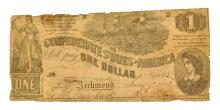 Nice 1862 $1 Confederate Note