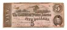 Nice 1862 $5 Confederate Note