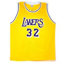 Very Rare Magic Johnson Signed Lakers Career Highlight Start Jersey Authenticated By JSA