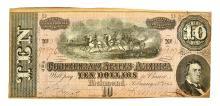 Nice 1864 $10 Confederate Note