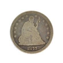 1877 Liberty Seated Quarter Dollar Coin