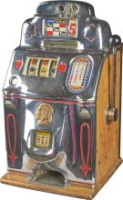 5 ¢ Jennings Chief Rare Restpred Tic-Tac-Toe Slot Machine Size 15-1/2'''' x 15-1/2'''' x 28''''-PNR-Due to laws regulating the sale of Antique Slot Machines, I, as the seller, will not sell to members in the states of AL, CT,HI, NE,SC, and TN. Bids from members residing in any of these states will be canceled. Buy It Now transactions with buyers in these states will be considered void.