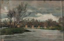 """Enrique Casanova (Zaragoza, 1850 - Madrid, 1913) """"Landscape with a bridge"""""""