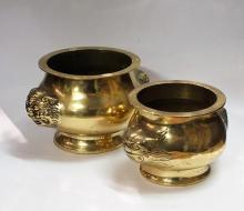 A Pair of Chinese Brass Censers