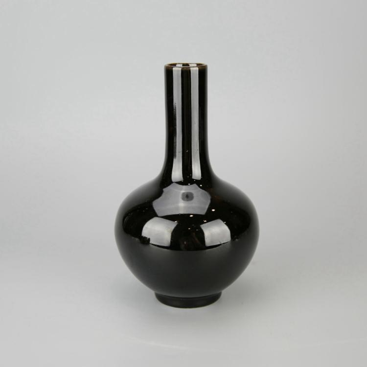 Chinese Black Glazed Porcelain Bottle Vase