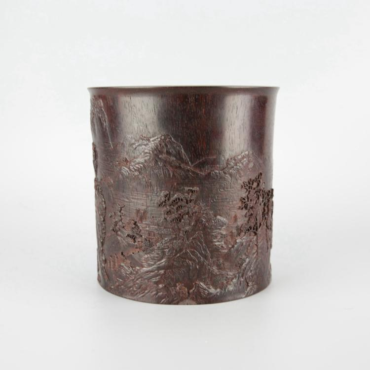 Finely Carved Chinese Zitan Brush Pot