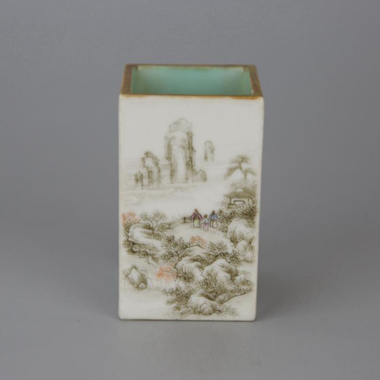 Small Chinese Grisaille Enamelled Porcelain Brush Pot