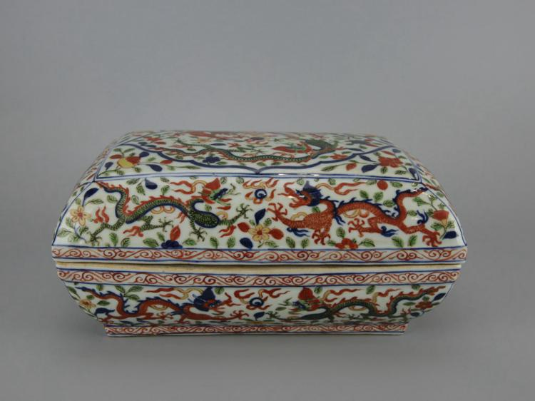 Chinese Pottery Box and Cover