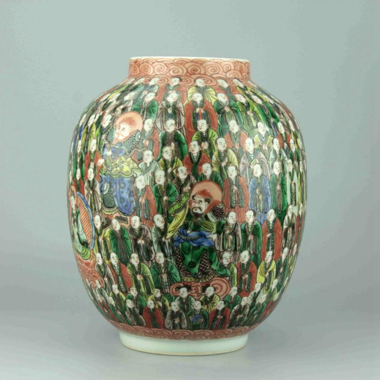 Chinese Famille Verte 'Hundred Arhats' Jar