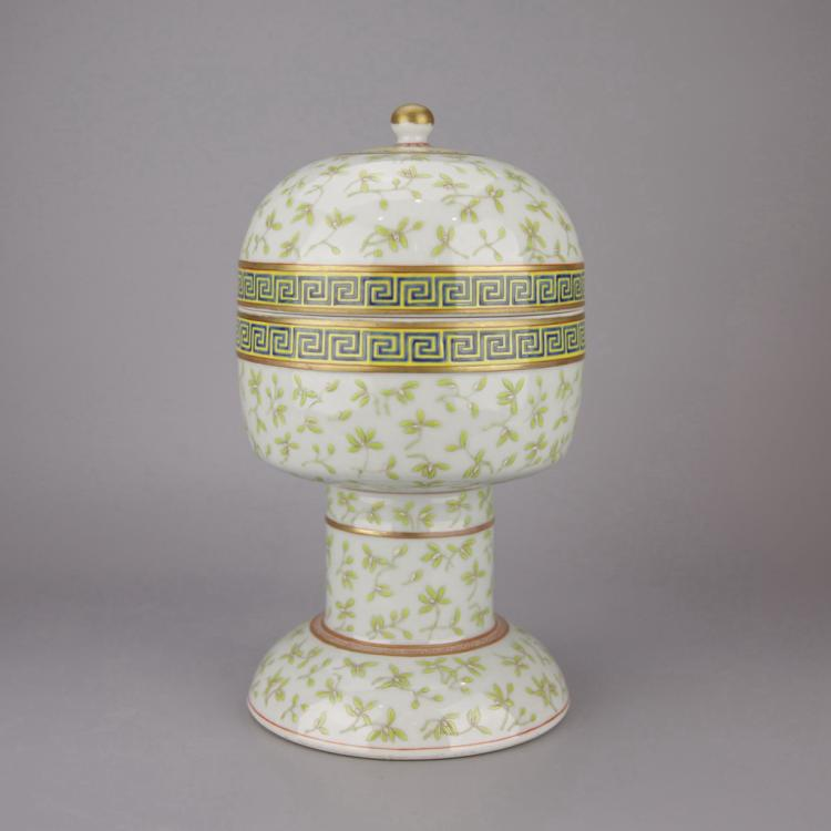 Chinese Celadon Under Glazed Porcelain Lidded Dou