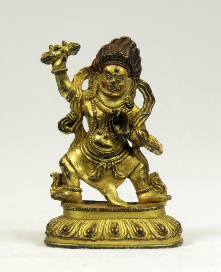 Small Sino-Tibetan Gilt Bronze Figure of Buddha