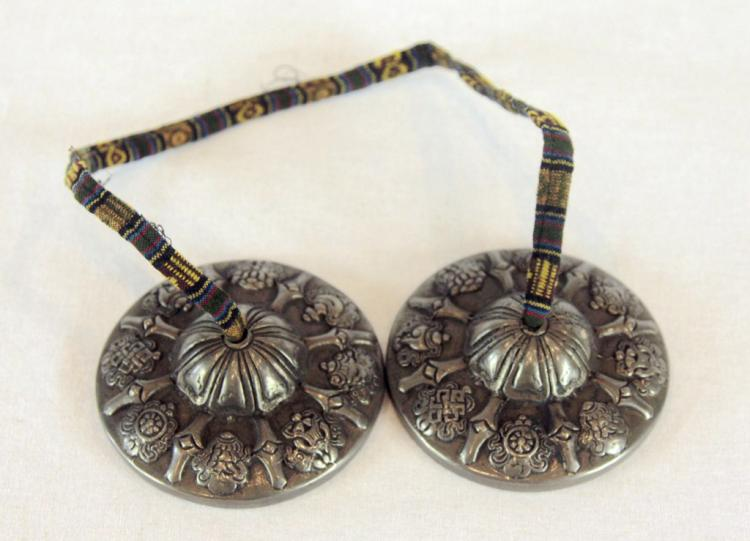 Pair of Sino-Tibetan Metal Cymbals