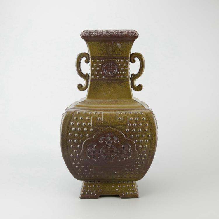 Chinese Tea Dust Glazed Porcelain Vase