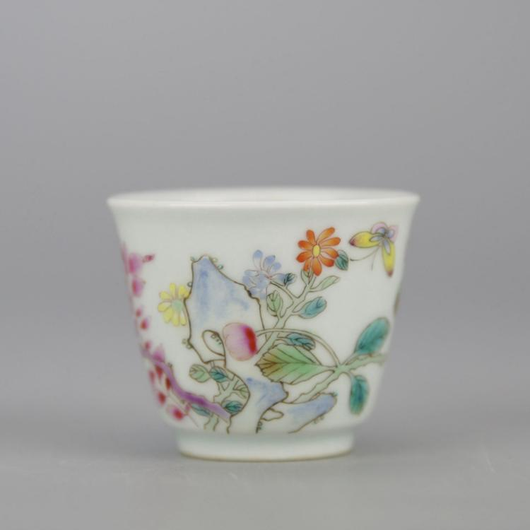 Small Chinese Polychrome Porcelain Tea Cup