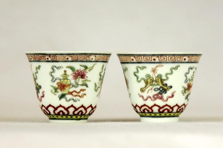Pair of Chinese Famille-Rose Porcelain Tea Cups (2)