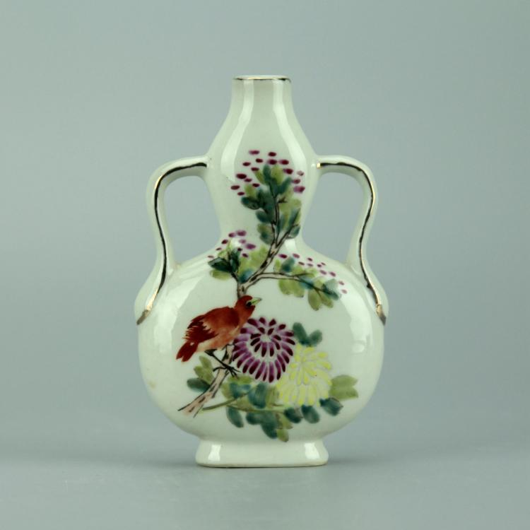 Small Chinese Polychrome Moon Flask Porcelain Vase